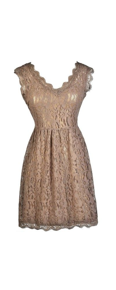 Lily Boutique Bittersweet Lace Dress in Mocha, $46 www.lilyboutique.com