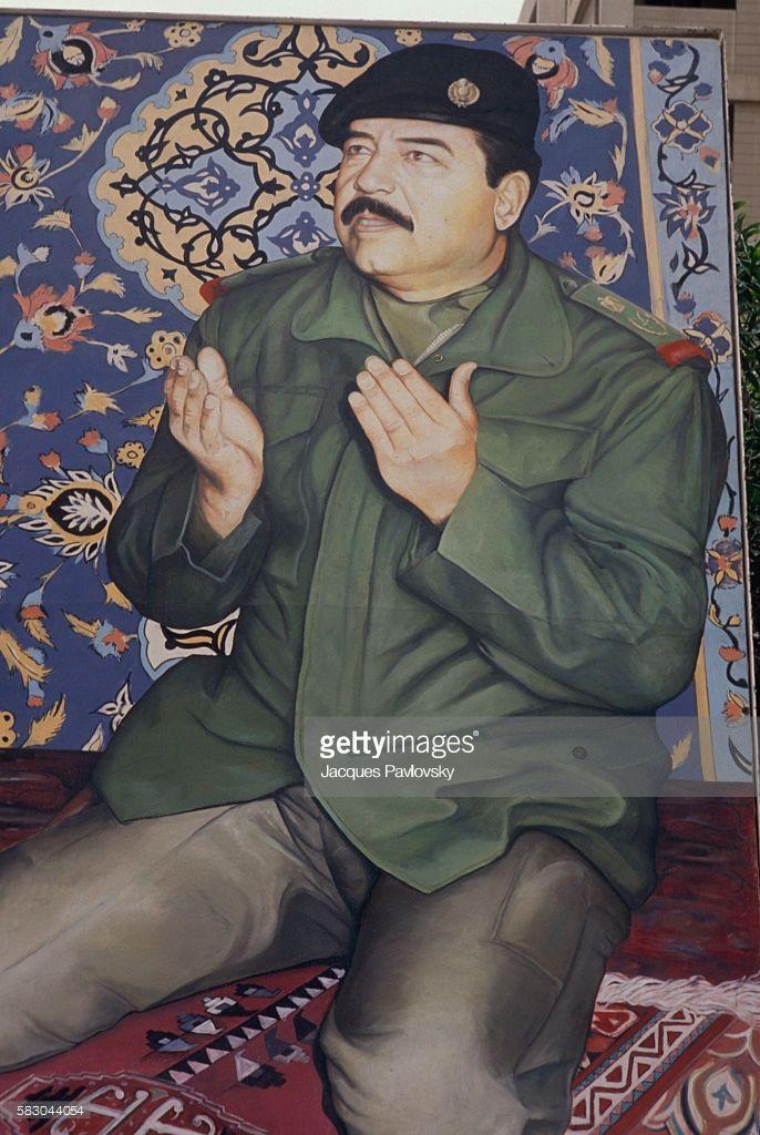 Portrait Of Saddam During A Prayer Iraqi President Portrait Prayers