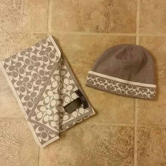 Coach hat and scarf set EUC Gently used. Material is a soft Marino wool. Not scratchy. No trades. Coach Accessories Scarves & Wraps