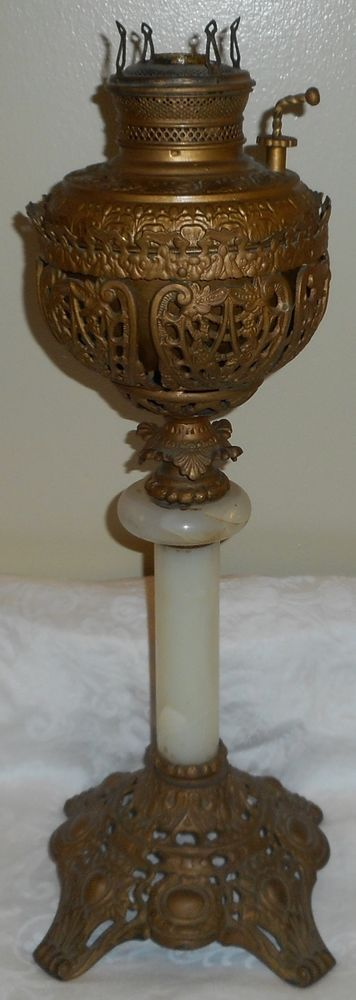 Fancy Tall Ca. 1890s H B&H Admiral Marble Stem Parlor Banquet Oil Lamp Good Font