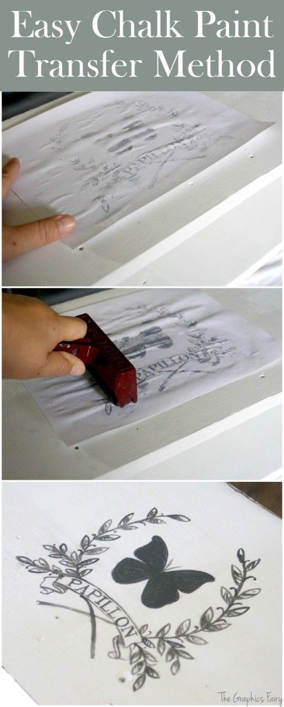 Easy Chalk Paint Transfer Method. This is a super simple technique to add image transfers to DIY Home Decor and furniture projects! Graphics Fairy.