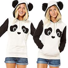 New Ženy s dlouhým rukávem Panda Ear Mikina s kapucí pro volný čas Coat svetr s kapucí Tops (Čína (pevninská část))