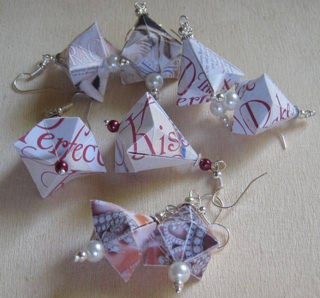 Paper earrings made with the covers of a few of my books