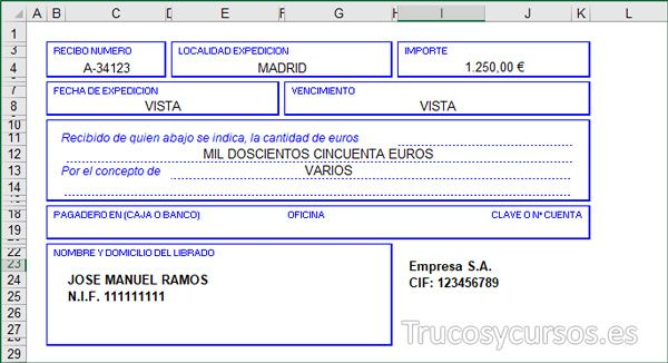 Plantilla Recibo En Excel Presupuesto Excel Microsoft Excel Plantillas Excel