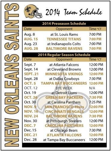 2014 New Orleans Saints Football Schedule Magnet