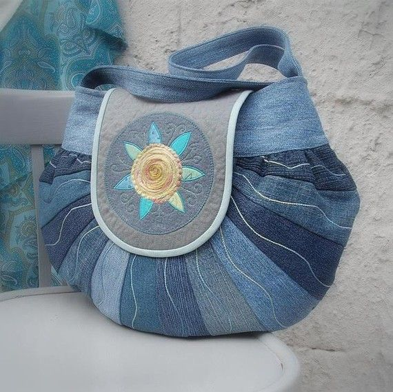Round the world bag made from recycling jeans material decorated machine embroidery by colettecolor $75.00