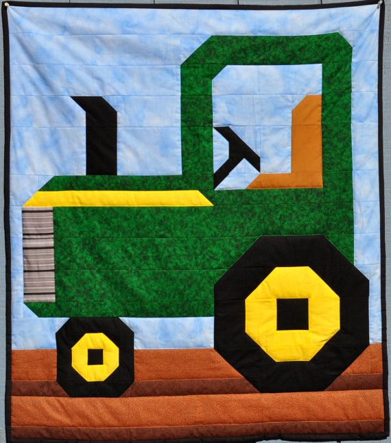 Tractor Quilt Pattern in 3 Sizes  PDF by CountedQuilts on Etsy, $9.00- Just because my dad only buys John Deere!