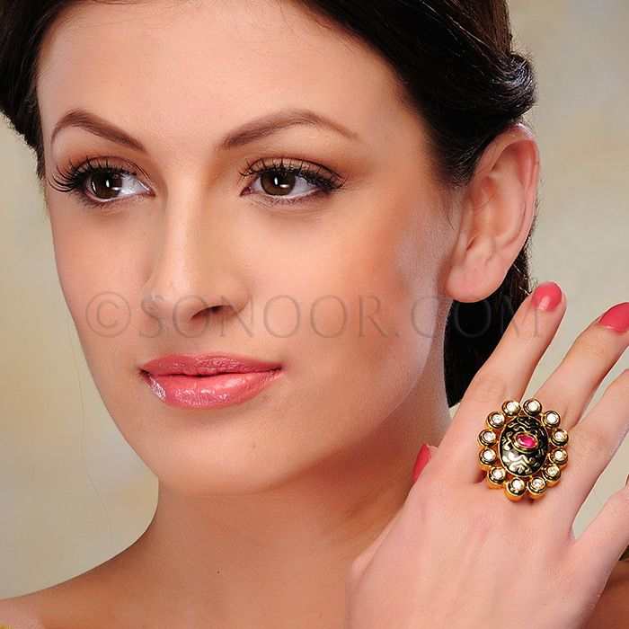 ACR/1/3318 Finger Ring (Free Size) in dull gold finish studded with kundan, jade, and meena kari $58 £34