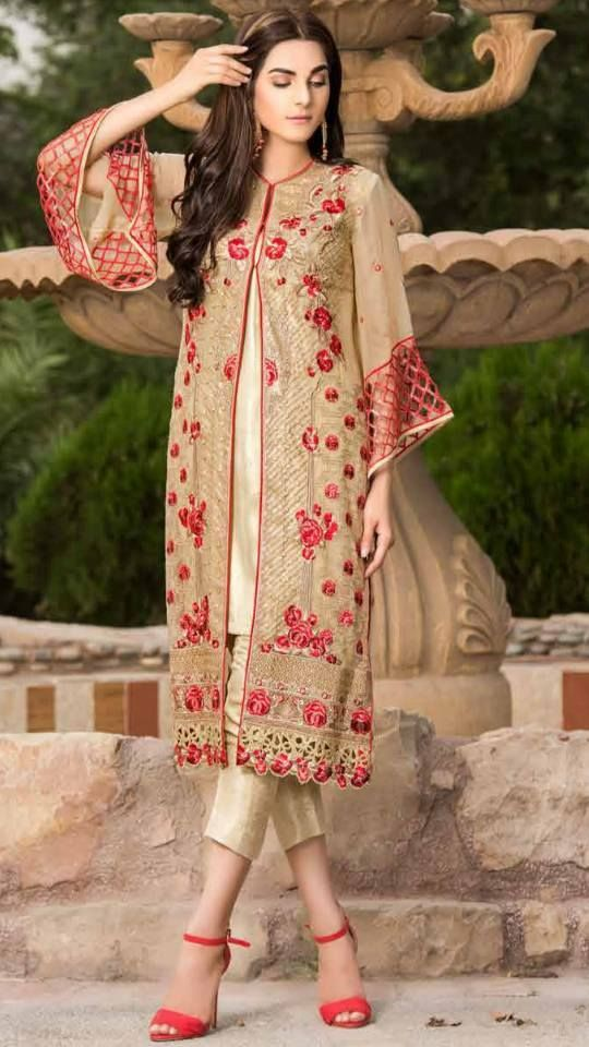 #Womens #Fashion #Pakistani #Designer #Suits #Haute #Couture for #work - #Gold #Shirt #Gold #Bottom #Embroidered #lawn #suits