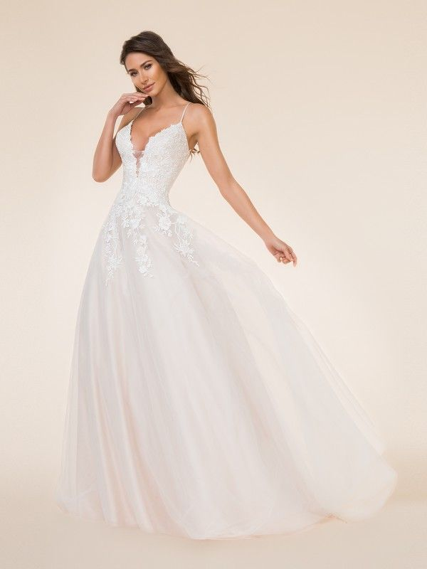 4764dad6dd58 Moonlight Tango T872 was meant for a bride that wants a fairy tale princess  look with a touch of boho. This full a-line wedding gown includes a deep  v-neck ...