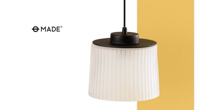 Tufnell Round Glass Pendant Light, White Frosted   made.com