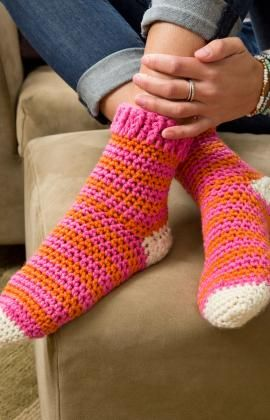 Cozy at Home Crochet Socks Crochet Pattern | Red Heart