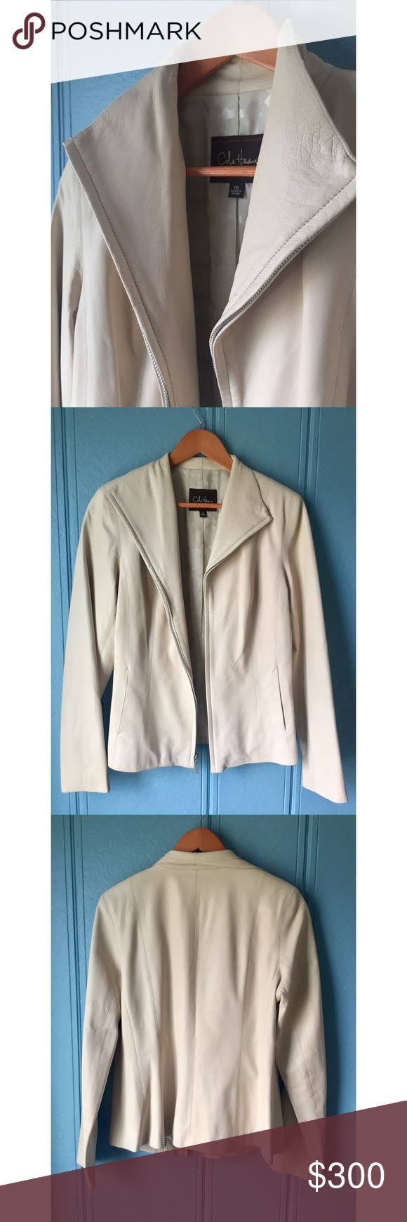 Cole Haan Cream-colored Lambskin Leather Jacket Good condition! Signs of wear, but no known damage. Exterior is Lambskin leather, lined with 50% nylon and 50% acetate. Two outside pockets and two inside pockets. Cole Haan Jackets & Coats