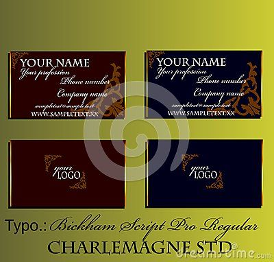 Elegant business card with gold border and brown baroque pattern. Vector illustration with white sample text.