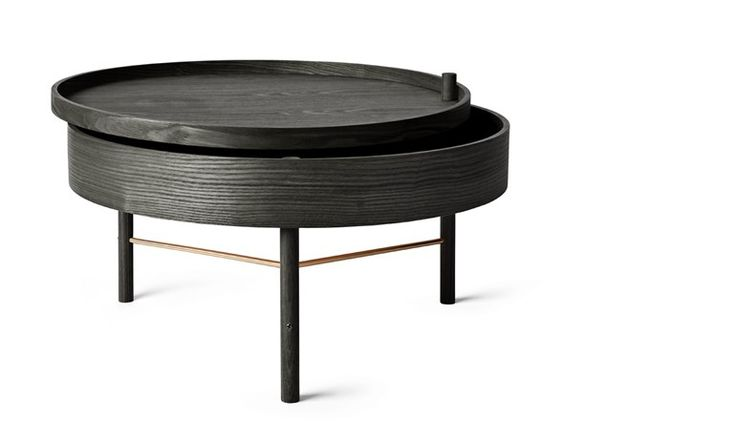 Round wooden coffee table with integrated magazine rack TURNING TABLE - MENU