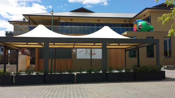 Double conic shade structures great for Cafe's