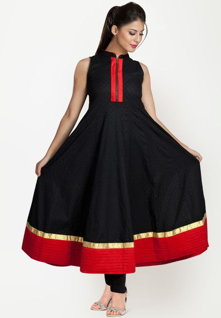 Sleeve Less Embroidered Black Kurti