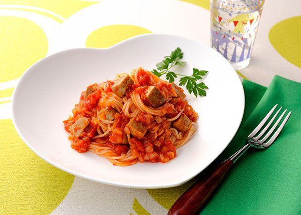 ミートソース風まぐろのゴロゴロパスタ+(食物アレルギー対応) (レシピNo.2624)|ネスレ バランスレシピ