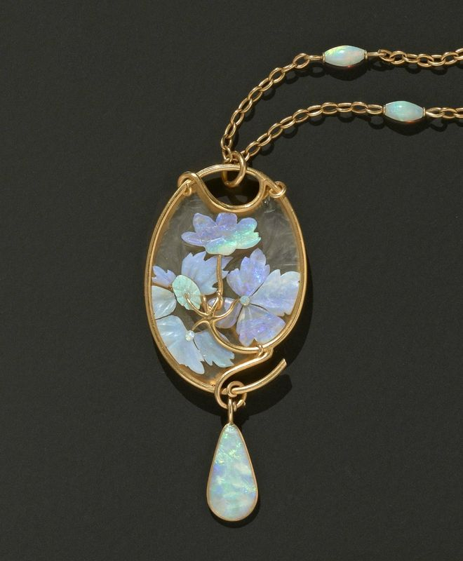 Rene Lalique - An Art Nouveau Carved Opal And Engraved Glass Pendant