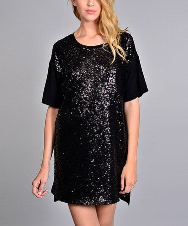 Black sequin shirt dress