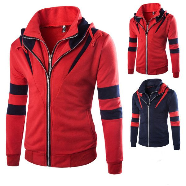 Mens Fitness Training Tight Sport Hoodies Causal Spell Color Running Sweatshirt Ly34czw7w