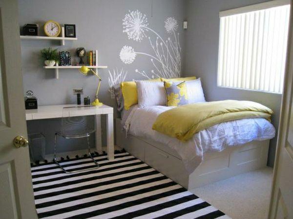 farben im schlafzimmer, akzente in gelb und schwarz