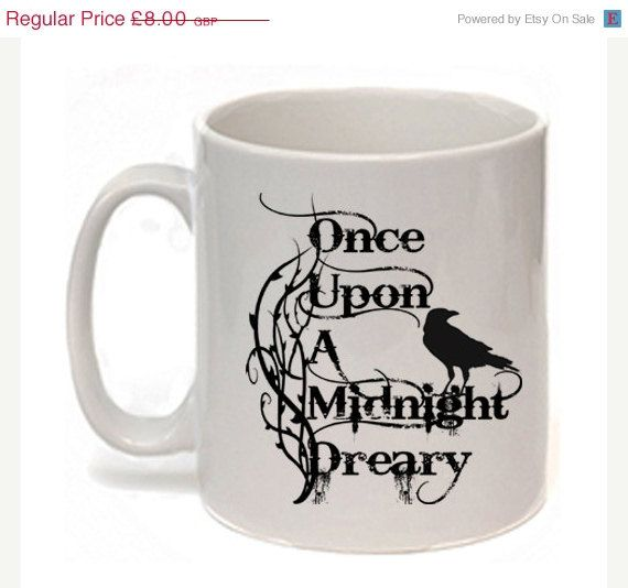 ON SALE Edgar Allan Poe Mug The Raven Once upon a by missbohemia
