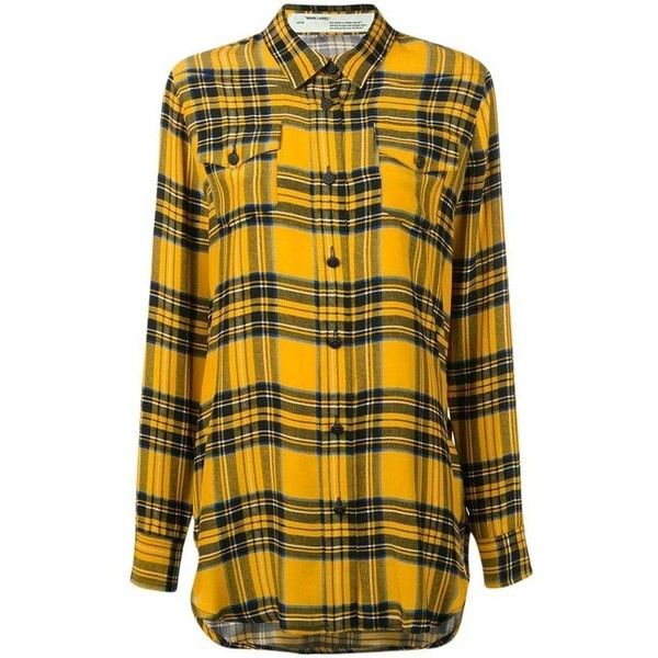 Off-White Yellow/Plaid Woman Collection Button-down Top ($348) ❤ liked on Polyvore featuring tops, silk button up shirt, yellow long sleeve shirt, yellow shirt, plaid button up shirts and button-down shirts