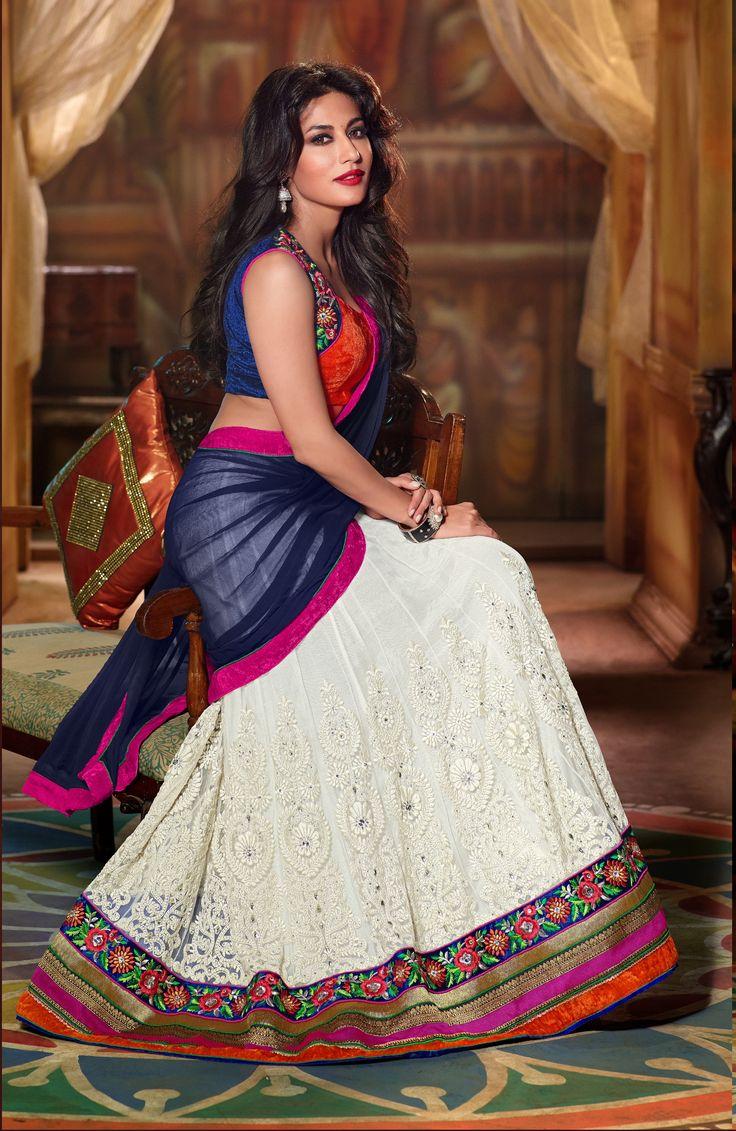 White and blue half saree