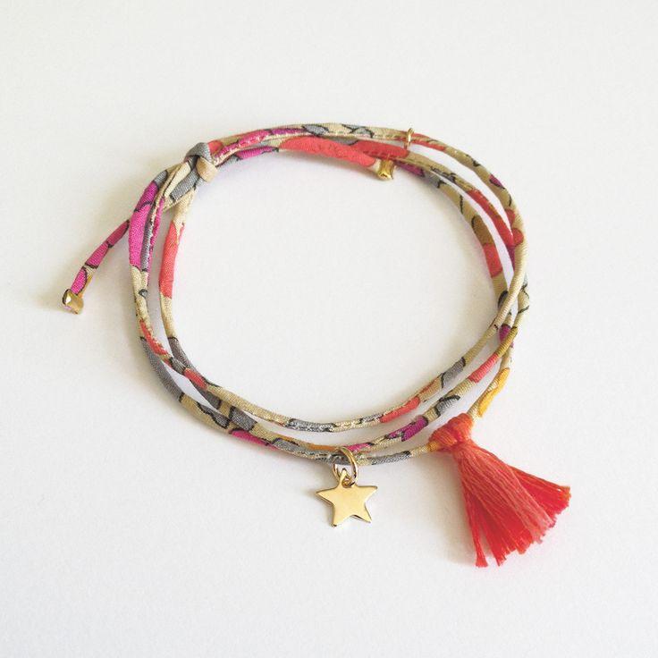 Bracelet lien en Liberty finement cousu, étoile en Plaqué Or. Handmade in France. http://ticha.bigcartel.com