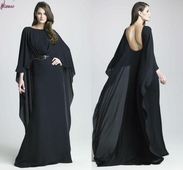 Elie Saab Black Chiffon Long Dresses With Long Sleeve