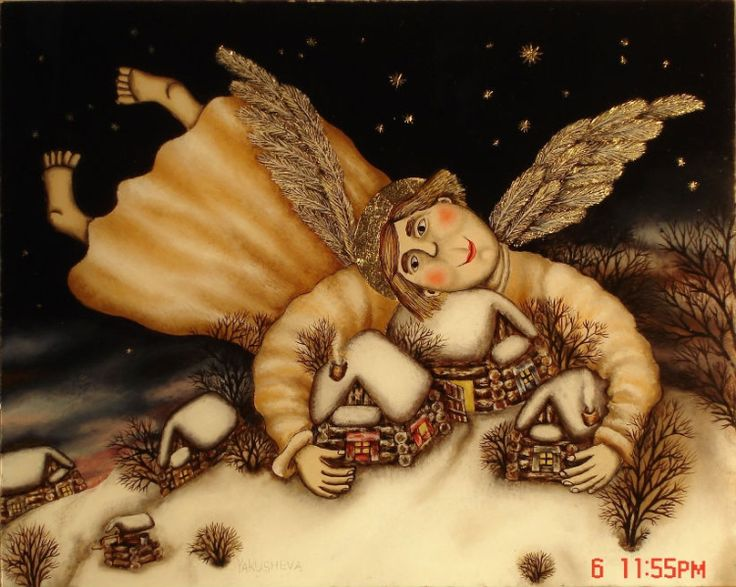 Gallery.ru / Ангел охраняющий - Живопись на стекле - julia-yakusheva