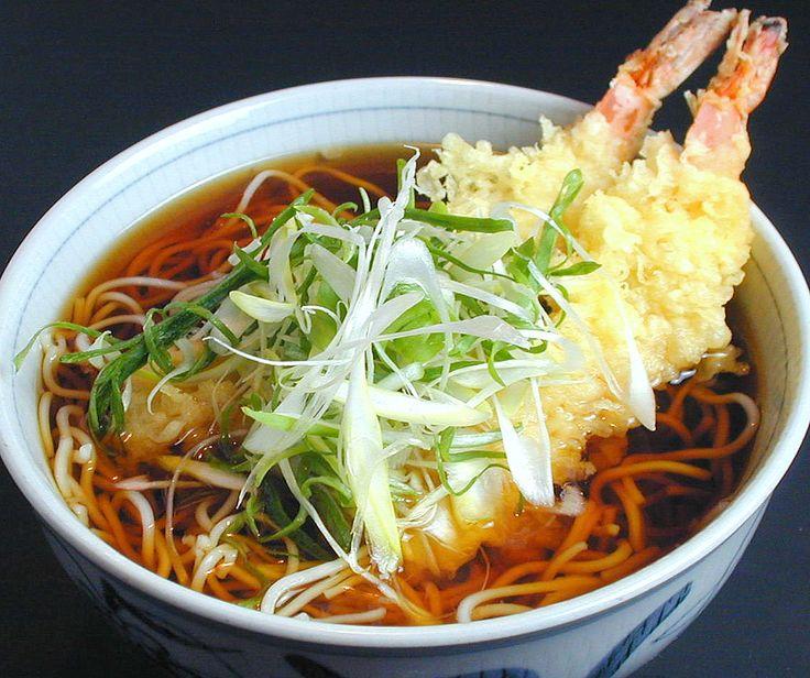 Prawn tempura, noodle soup