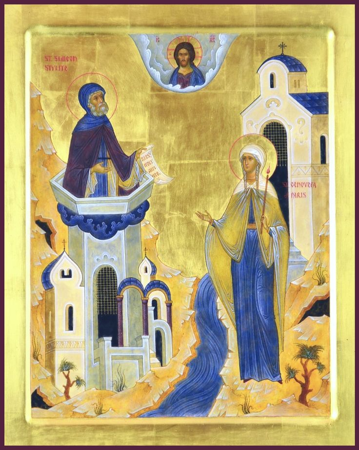 """St. Simeon Stylite and st. Genovefa of Paris. 2015. Wood, gesso, tempera, gilding. 13""""x11"""". St.Nicholas Cathedral in Toronto (Canada)."""
