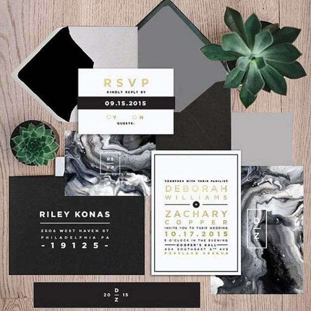 Wedding Invitation // Wedding Ideas //  Modern and minimal wedding: gery, black and white