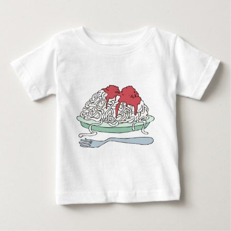 Spaghetti Pasta Junk Snack Food Cartoon Art Baby T-Shirt - tap to personalize and get yours