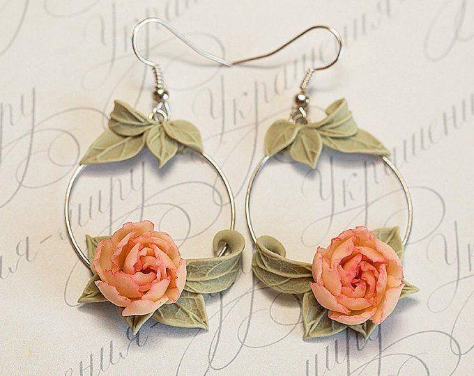 White Peony Earrings Ivory Flowers Earrings Flower Hoop Etsy Polymer Clay Flower Jewelry Pink Flower Jewelry Polymer Clay Jewelry