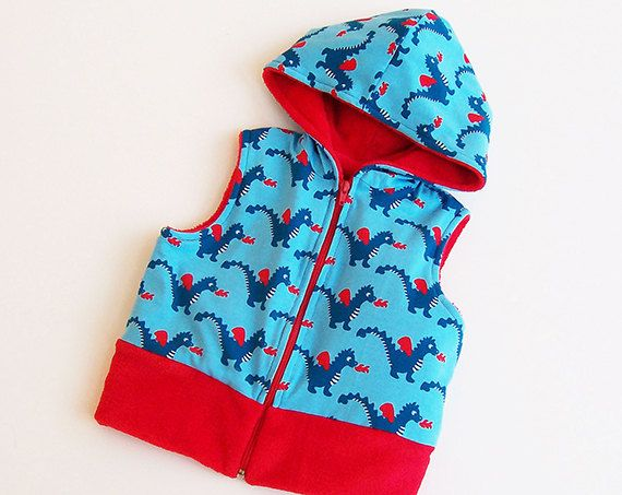 Boy Girl DRAGON Vest for Children pattern sewing PDF, Hooded, Knit Jersey Fleece or Woven, Toddler, 3 4 5 6 7 8 9 10 yrs INSTANT Download
