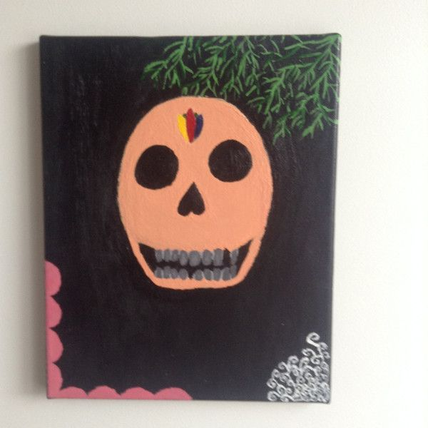 canvas acrylic painting, Day of the dead skull, size 24 x 30 cm,... ($35) ❤ liked on Polyvore featuring home, home decor, wall art, skull home accessories, tree canvas wall art, canvas home decor, canvas paintings and skull painting