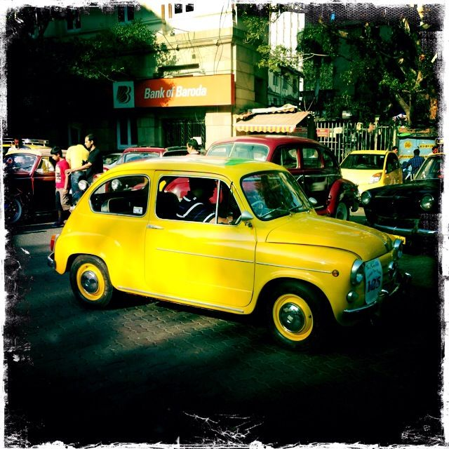 A yellow mini vintage Cooper, Mumbai