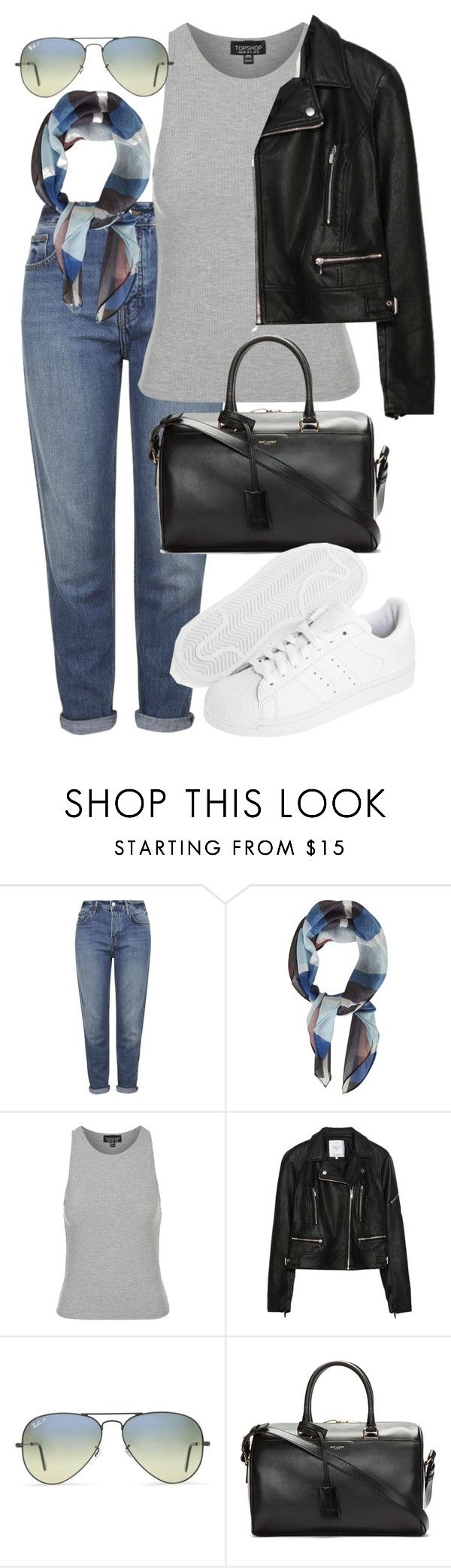 """""""Untitled #2388"""" by oliviaswardrobe ❤ liked on Polyvore featuring Topshop, Zara, Ray-Ban, Yves Saint Laurent, adidas Originals, women's clothing, women, female, woman and misses"""
