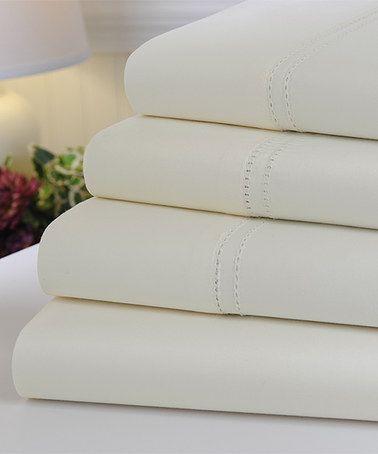 Ivory Oxford Egyptian Cotton Sheet Set #zulily #zulilyfinds