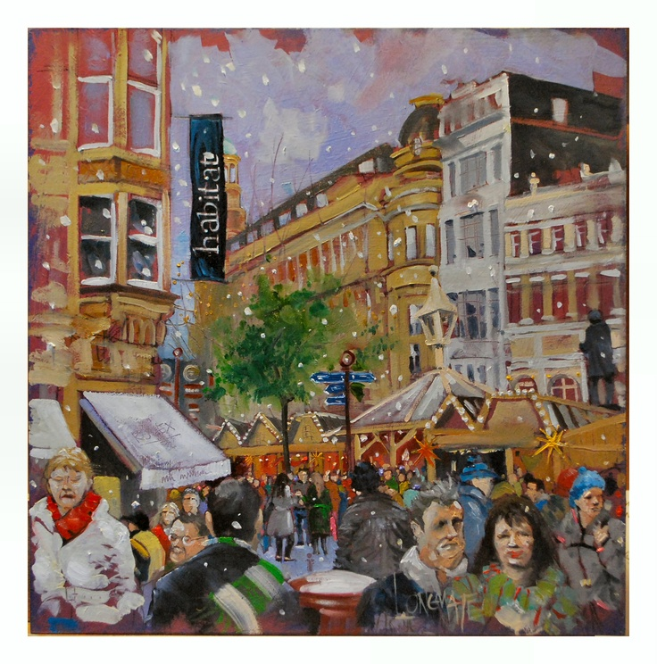 German Market 2  Oil on Board.