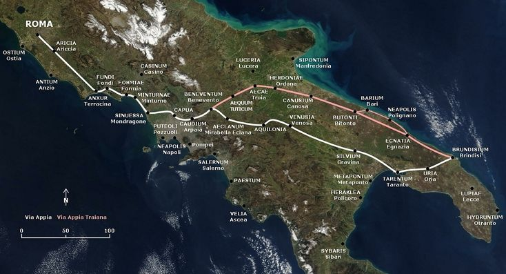 The Appian Way - Italy military road began in 312 BC by Appius Claudius Caecus, the Roman censor