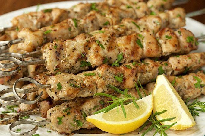 Grilled lemon-rosemary chicken skewers