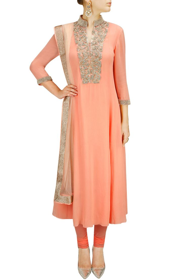 Peach zari and bead embroidered kurta