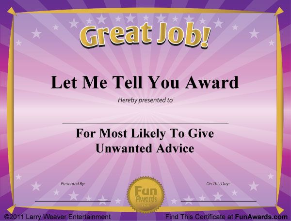 10 best Funny Award Certificates images on Pinterest Award - best employee certificate sample