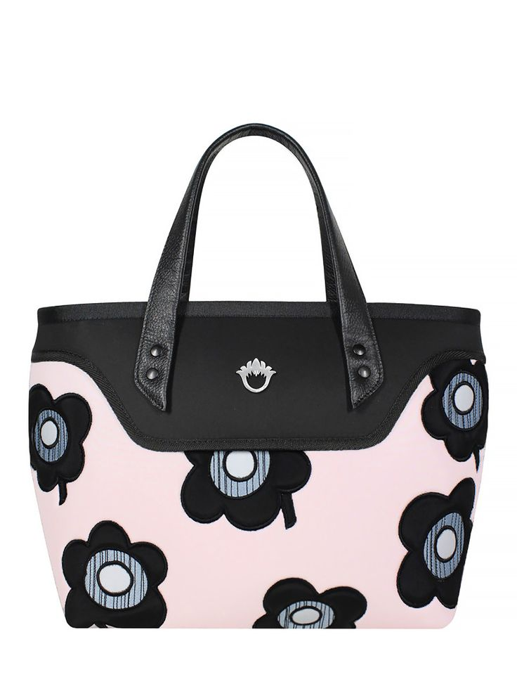 GOSHICO, ss2015, Flowerbag (coffer bag), pink + black + pop art flowers. To download high or low resolution product images view Mondrianista.com (editorial use only).
