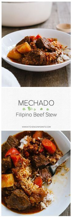 Mechado - Filipino Beef Stew  www.kitchenconfidante   Comfort in the form of a hearty stew can be found in nearly every country's cuisine, and the Philippines is no different. Mechado is the Philippine version of the ubiquitous comfort food with a wonderful depth of flavor that comes from browned garlic, marinated beef, and the complex flavors of patis, or fish sauce.