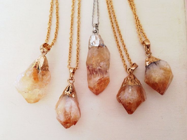 Mystic Peach Citrine Quartz Necklace, $18.00 Healing Stones, Gemstones, Success Stone, Solar Plexus